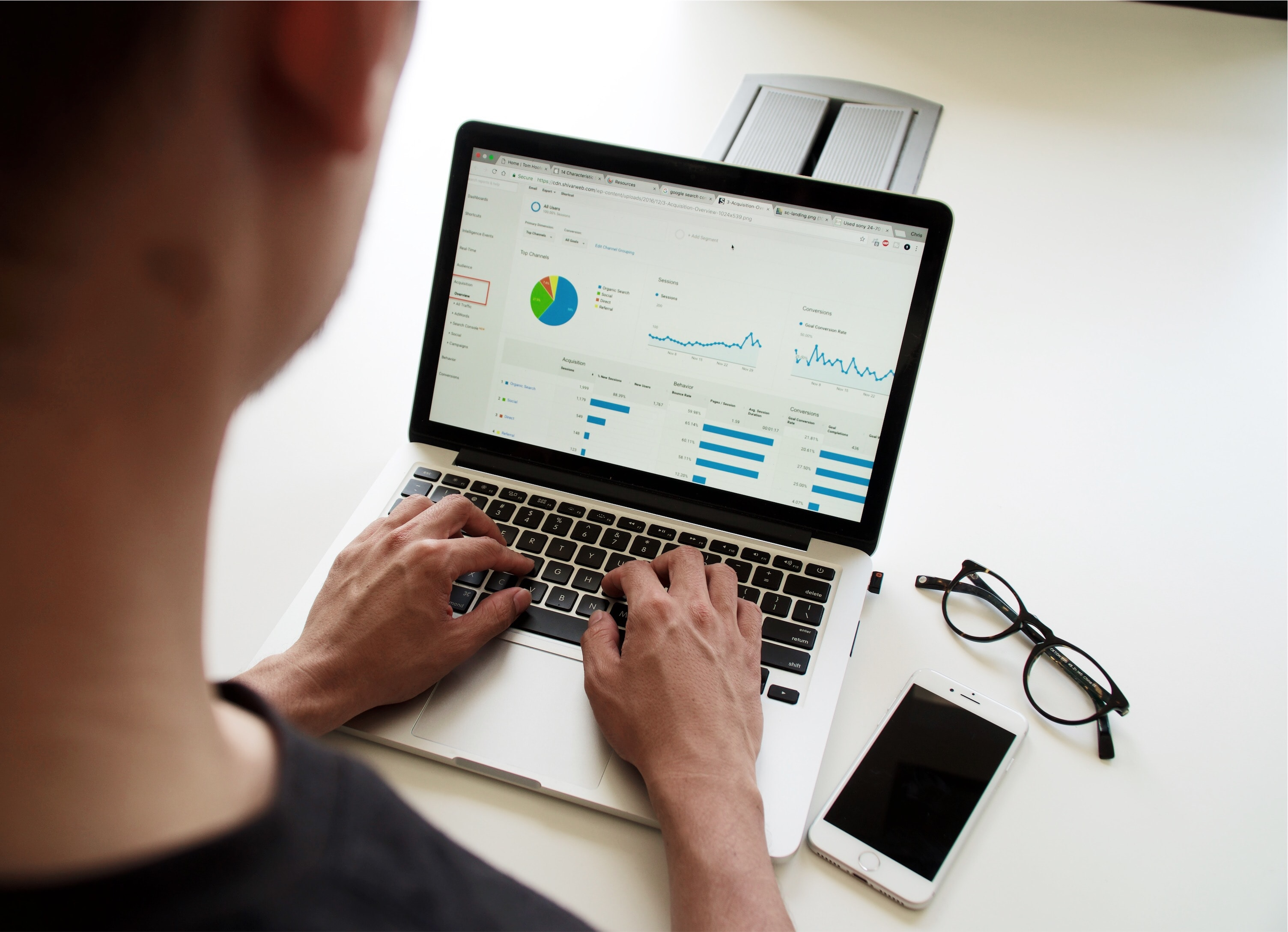 Marketing professional checking SEO analytics