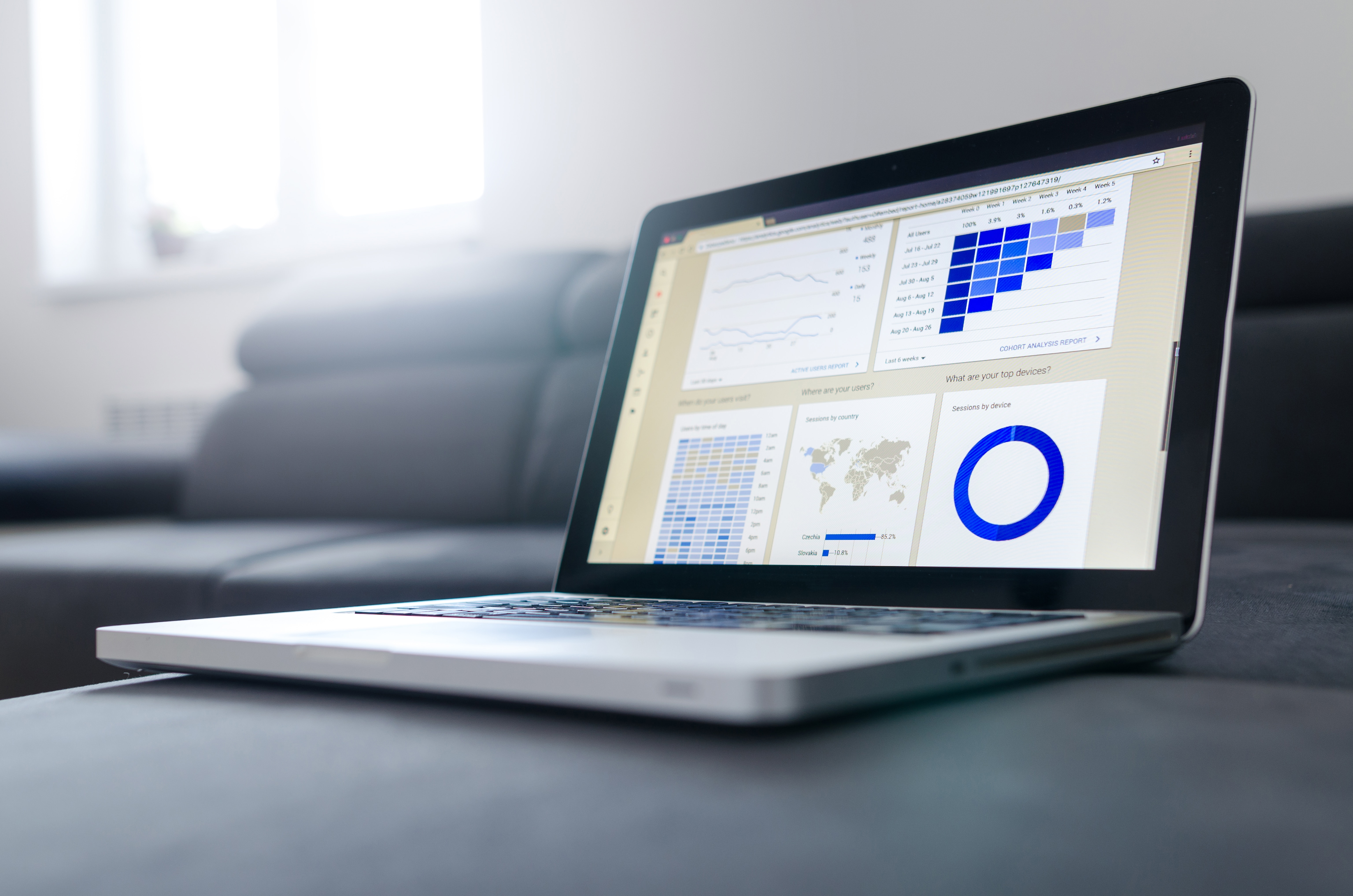 laptop showing marketing analytics custom dashboard