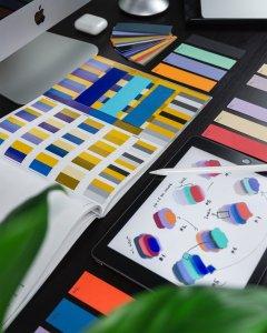 branded color pallets on a desk